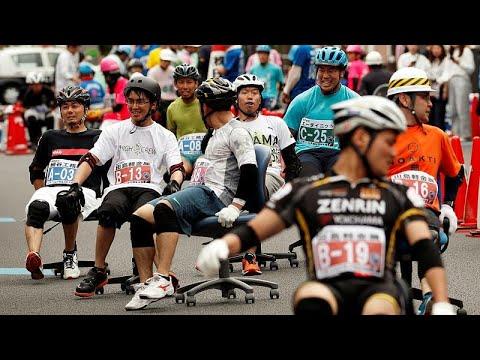 شاهد شوارع هانيو اليابانية تستقبل الجائزة الكبرى لسباق كرسي المكاتب